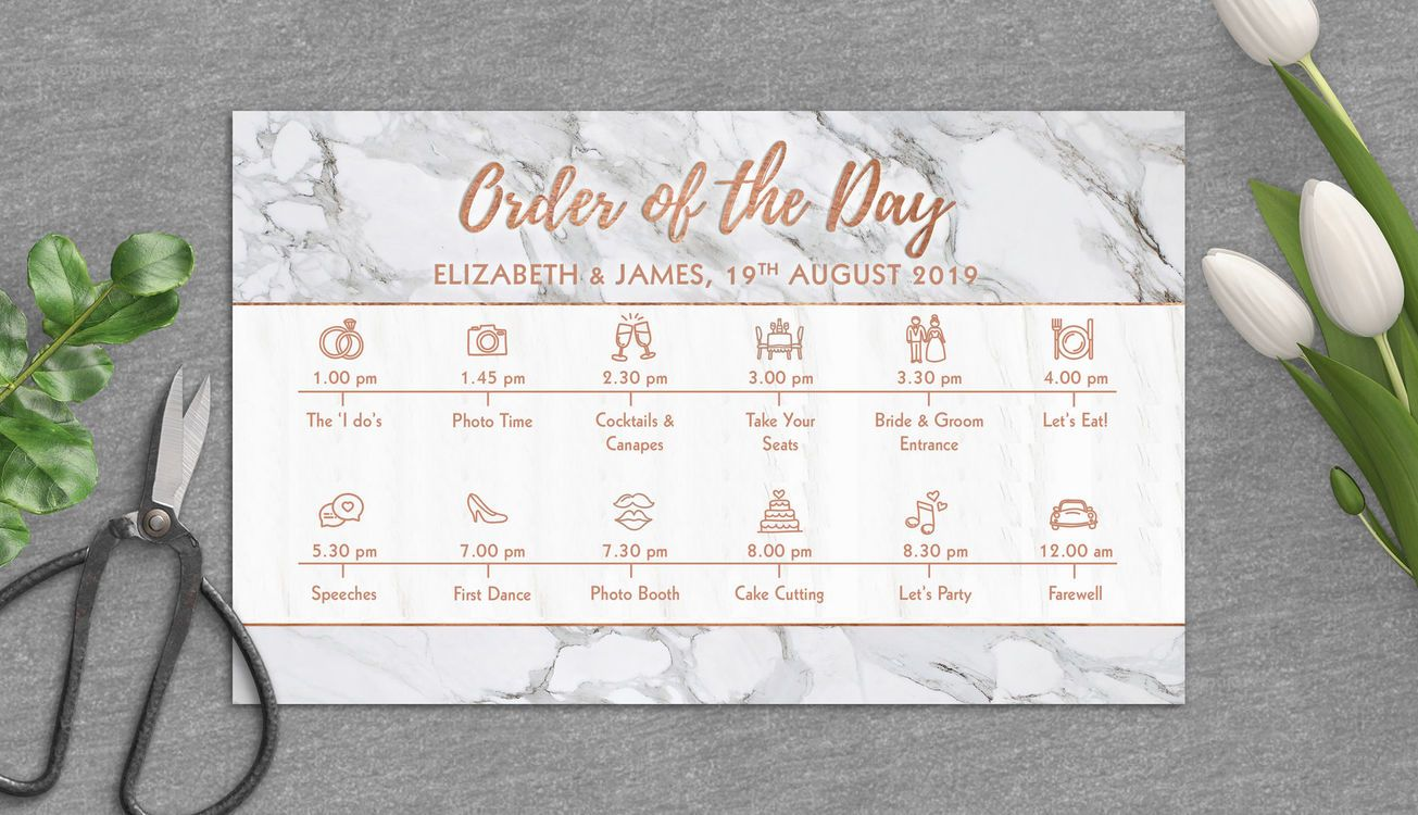 Silver Marble Copper Personalised Wedding Timeline Cards Order