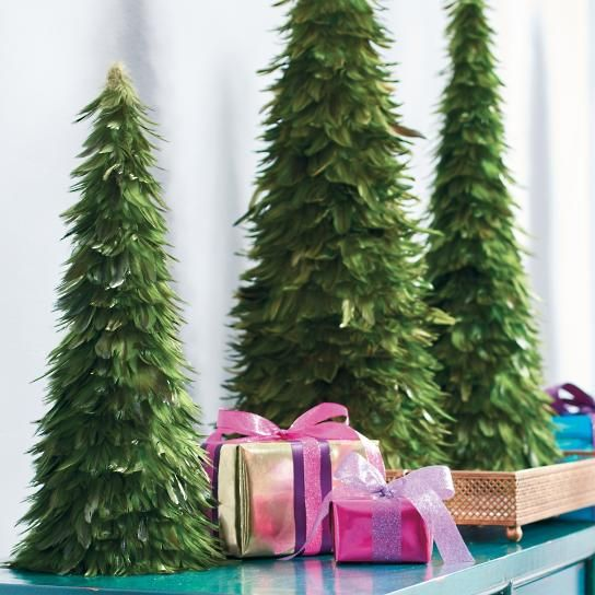 Green Feather Cone Tree, Set Of Three