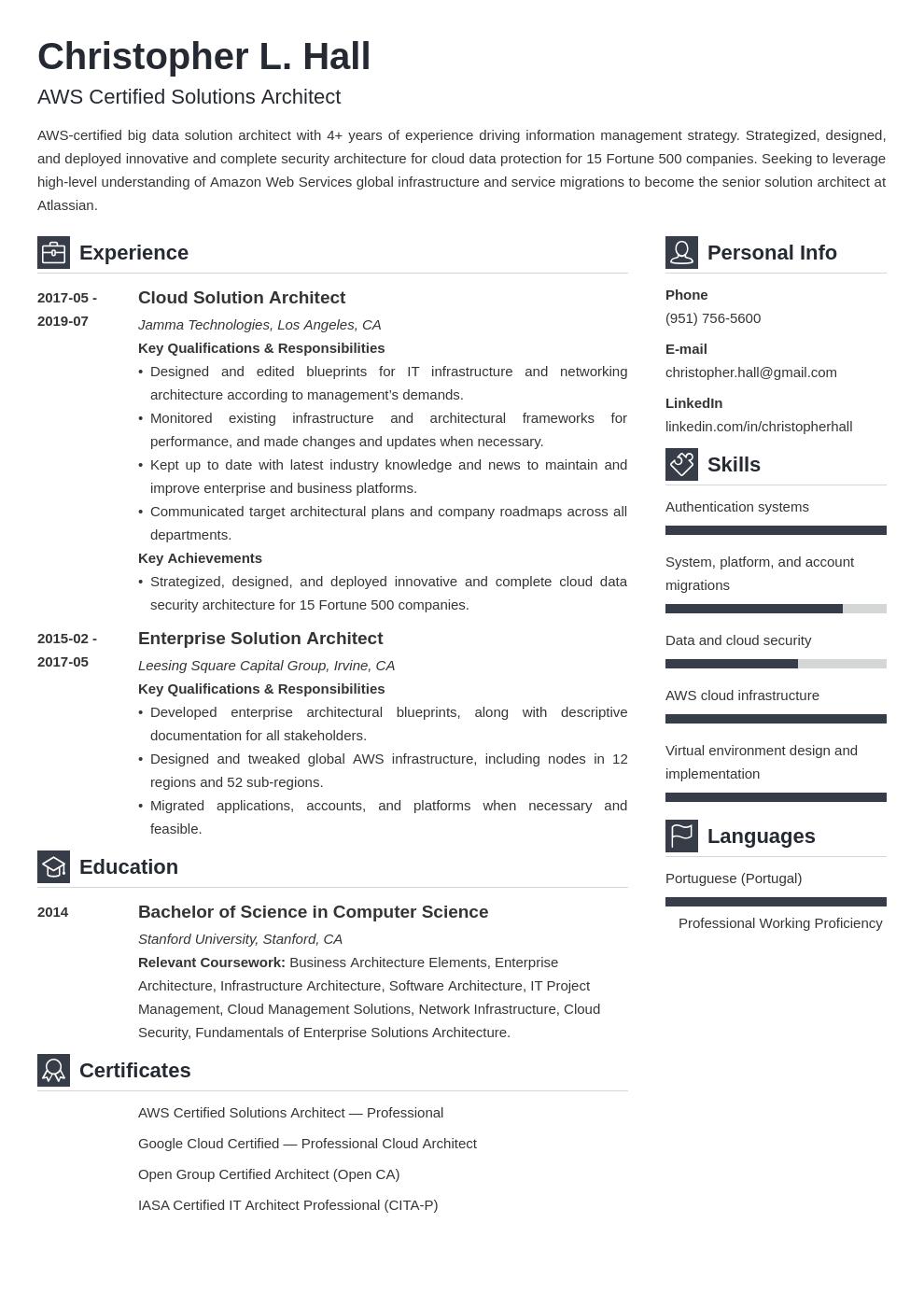 aws certified resume sample  best resume examples