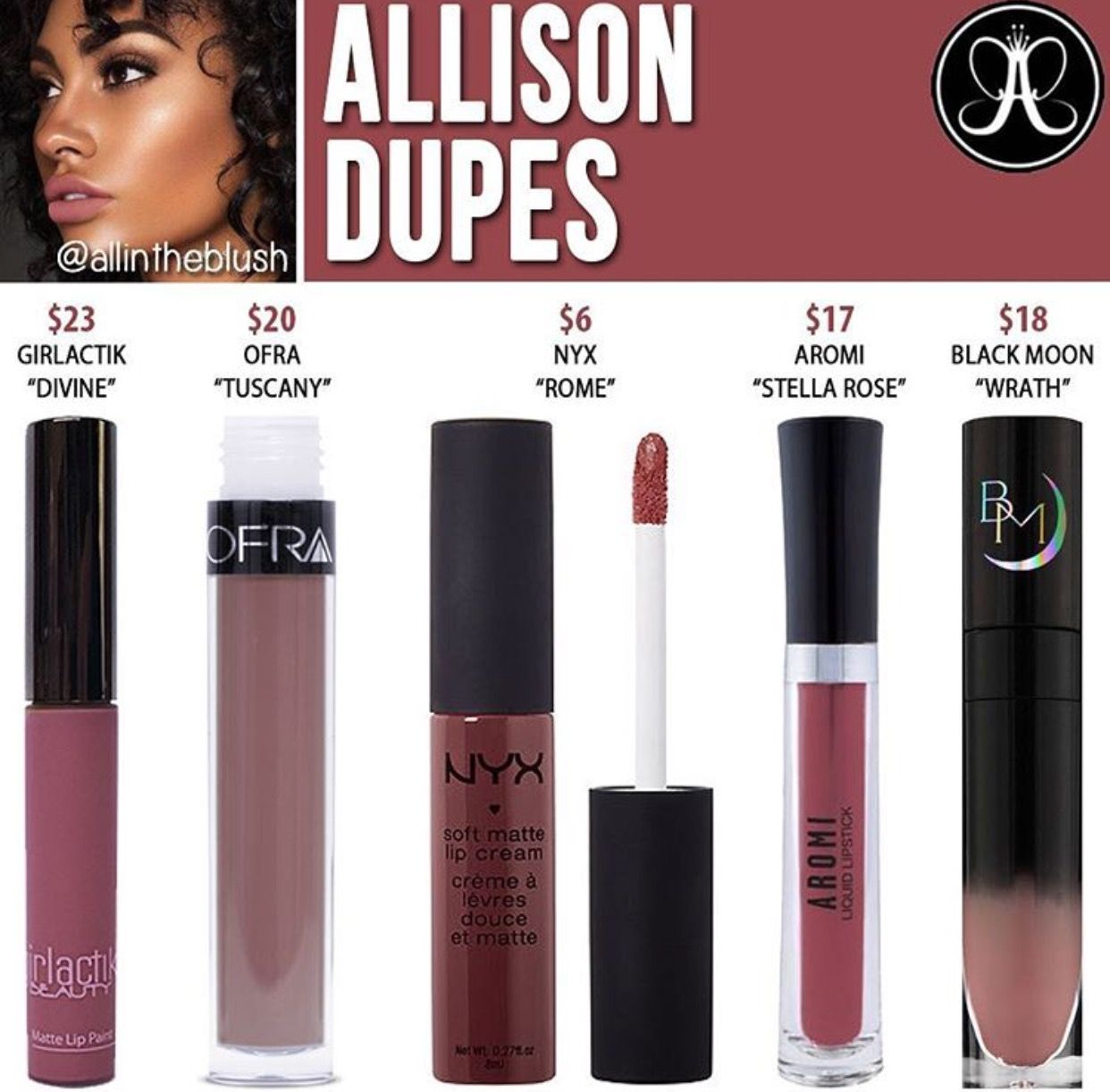 Anastasia Beverly Hills liquid lipstick dupes in the shade