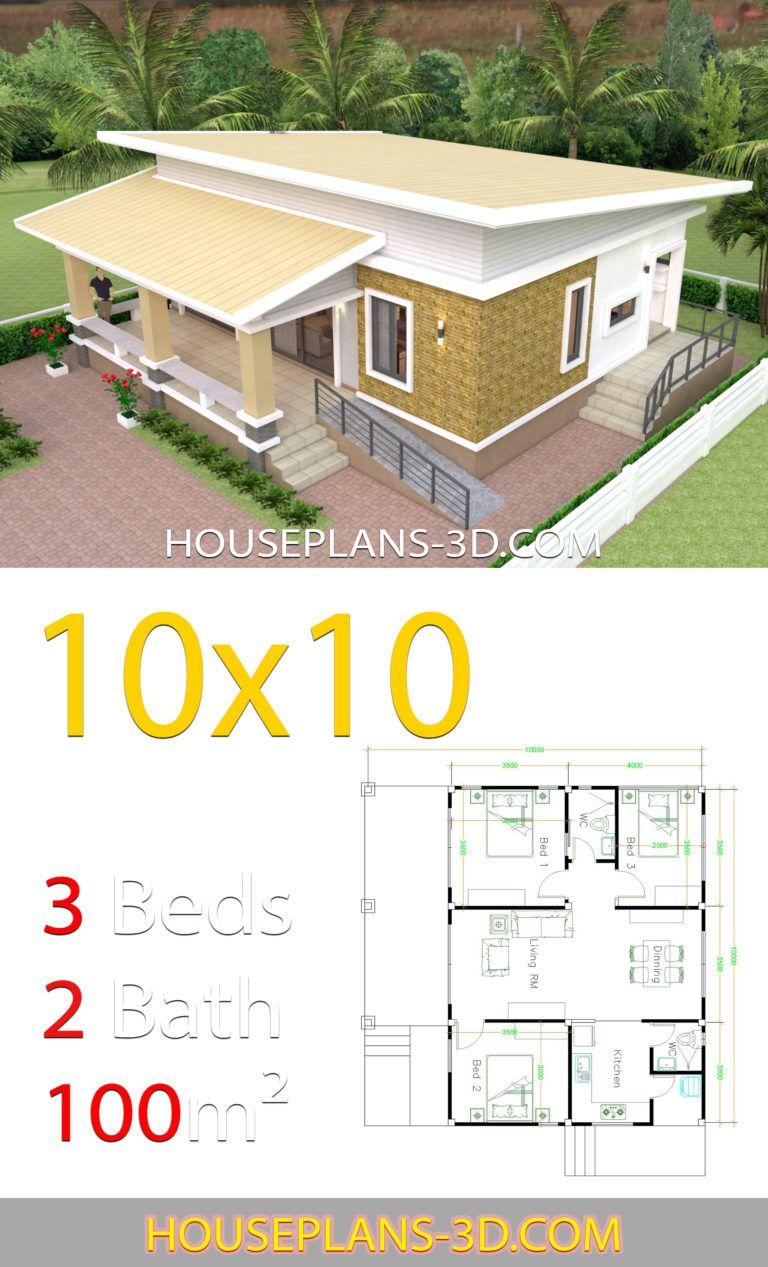 10x10 Bedroom Floor Plan: House Design Plans 10x10 With 3 Bedrooms Full Interior In