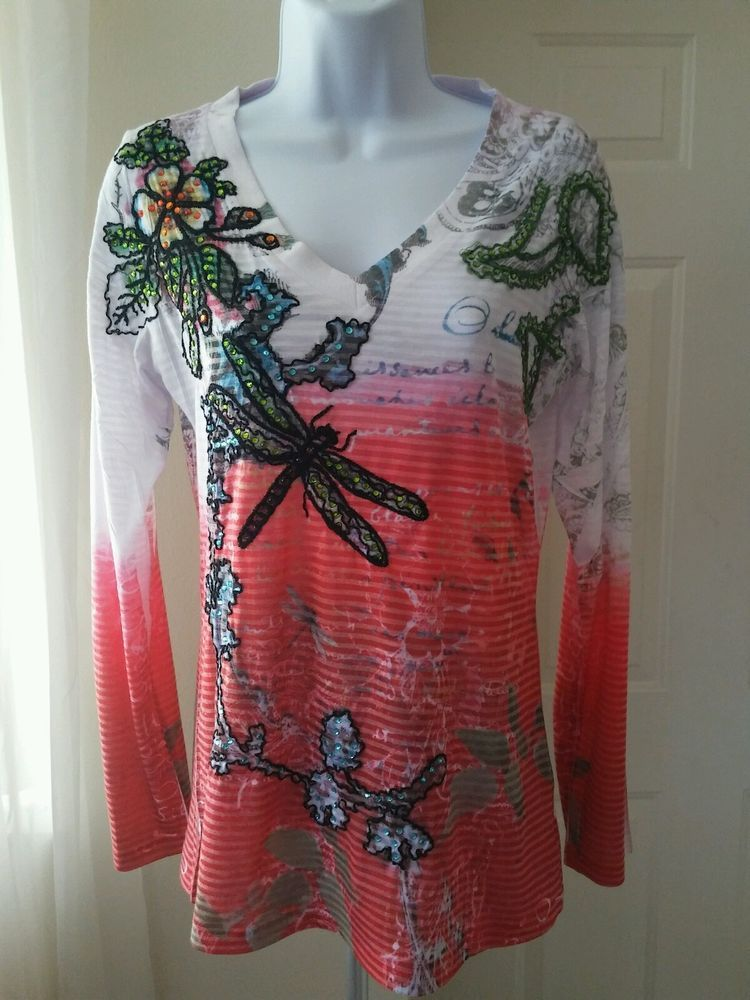 e37480e37d0 SPY Zone Exchange XL V-Neck Embellished Multi-Color Top Long Sleeve Tattoo  in Clothing