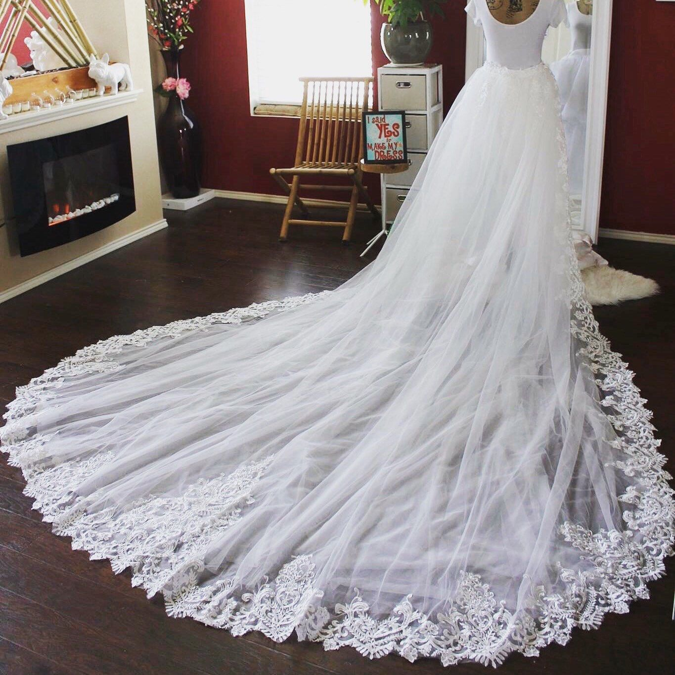 5ft Lace Detachable Train / Tulle Train with Satin