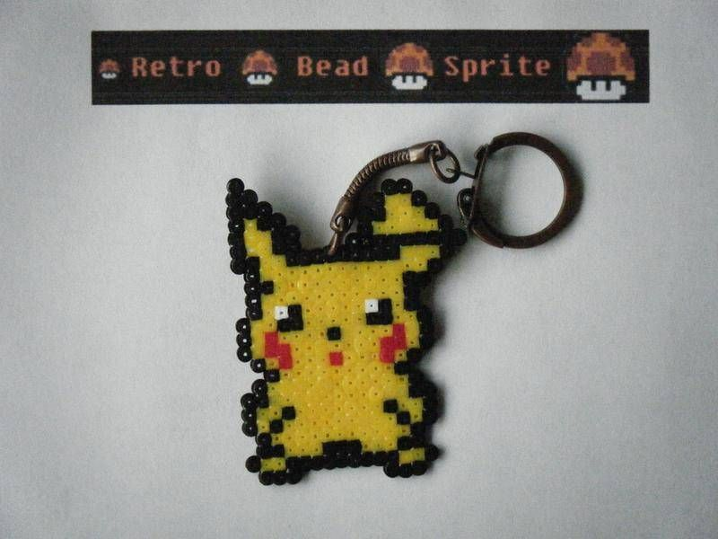 Gros Porte Cle Pikachu En Perles Hama Perles Hama Perles Hama Pokemon Hama