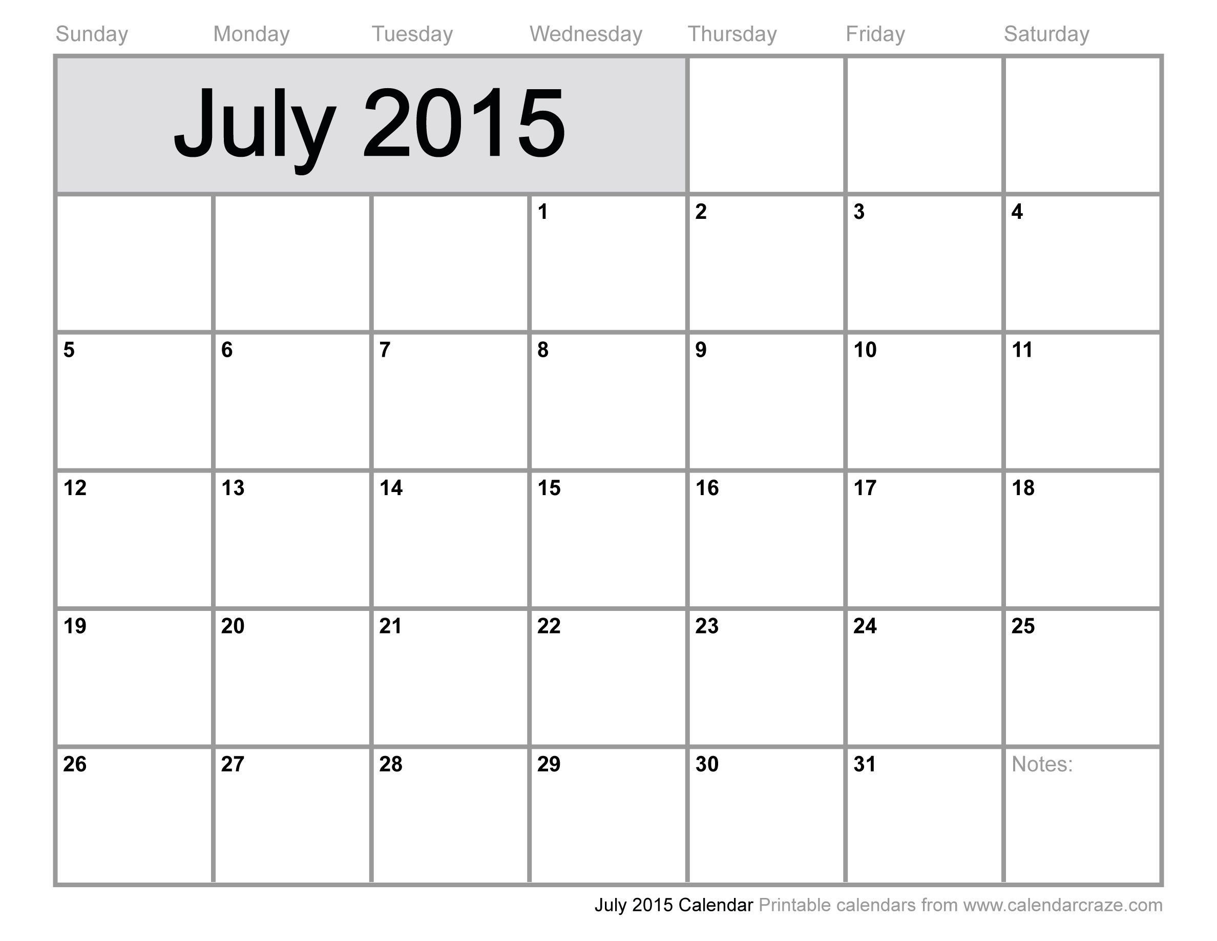 July 2015 Calendar Free Download - Get an exclusive collection of ...