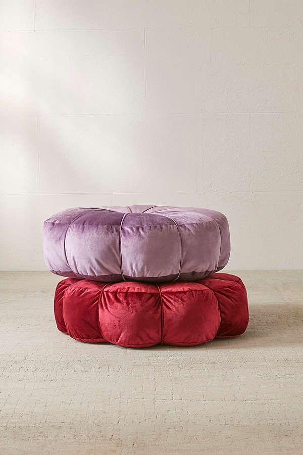 Clarice Velvet Floor Pillow Purple Bohemian Floor Pillows