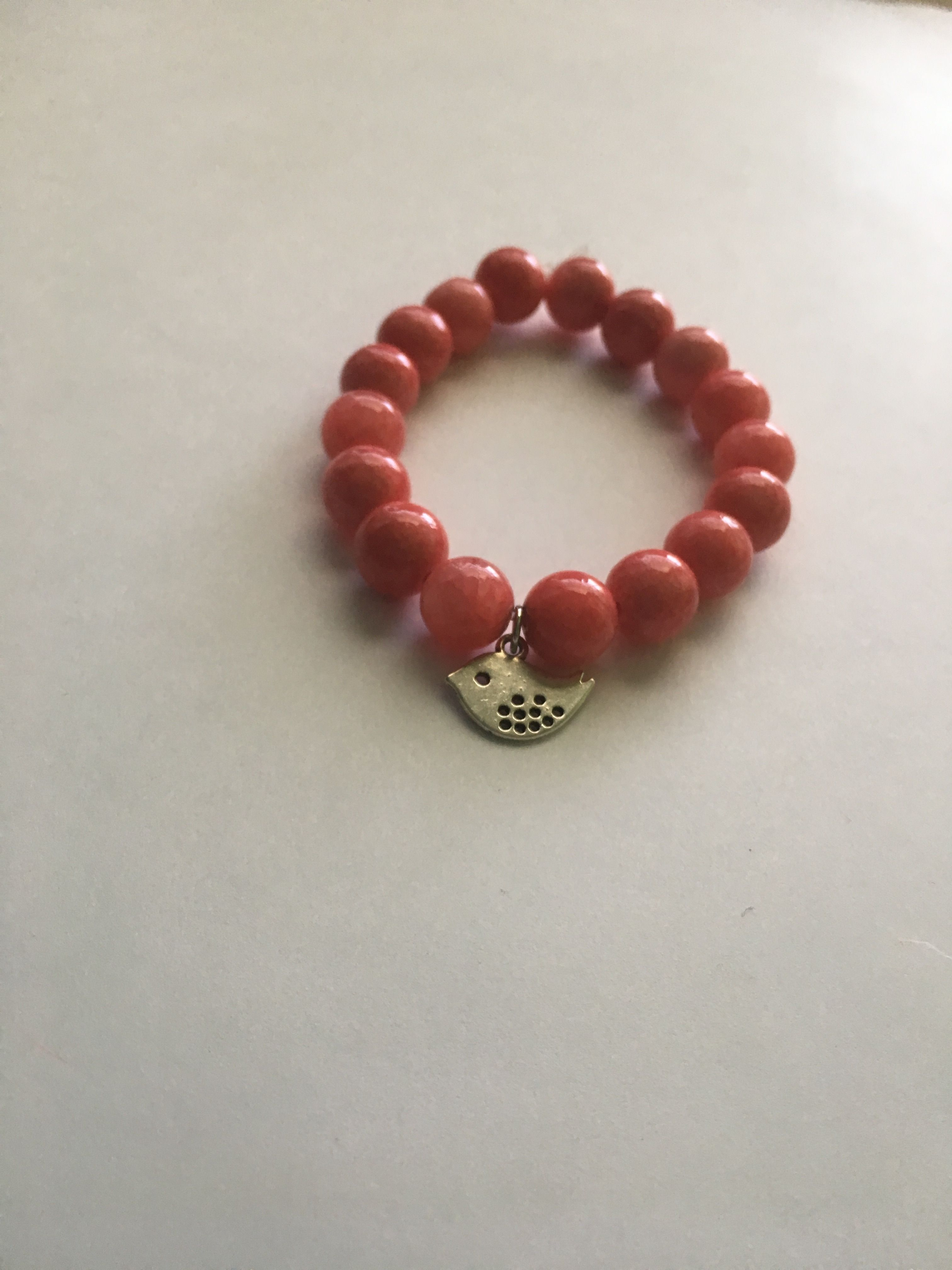 Pink Coral 10mm Beads with Bird Charm