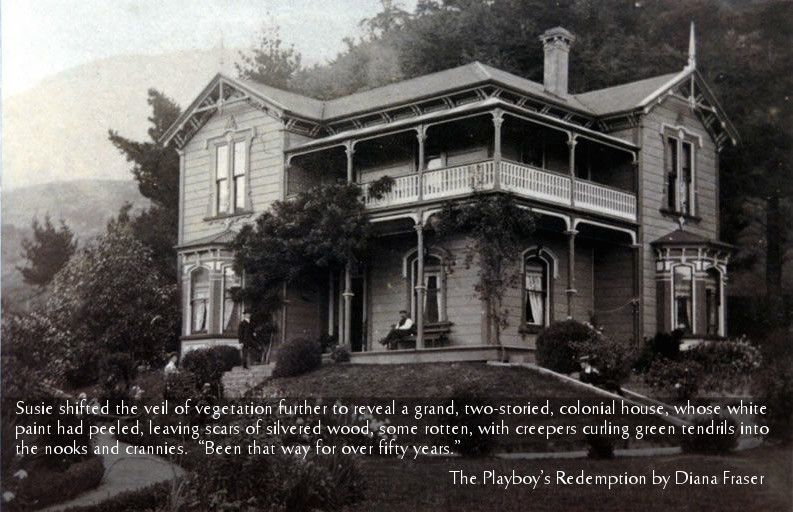 In The Playboy's Redemption, James discovers an 1890s colonial villa on Waiheke Island, hidden by trees and climbers. Here's what it would have looked like in its hey day.