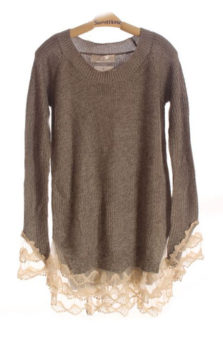 Grey Floral Lace Cuffs and Hems Long Sleeve sweater