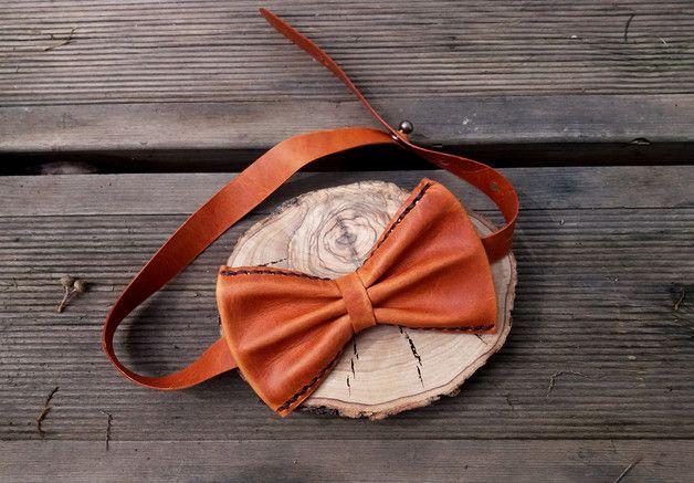 Pajaritas - Pajarita cuero marrón, pajarita cuero, pajarita - hecho a mano por encuerosartesanos en DaWanda