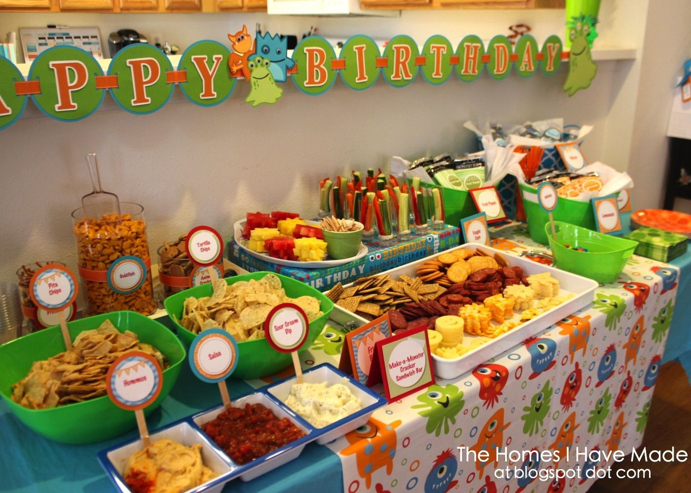 Yesterday Was My Son S Monster Themed First Birthday Party For This Past 6 Weeks Preparing Fo Birthday Party Food Kids Birthday Party Food Monster Party Food