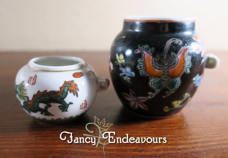 TWO Miniature Chinese Porcelain Pots Black & White Dragon Butterfly #Unknown