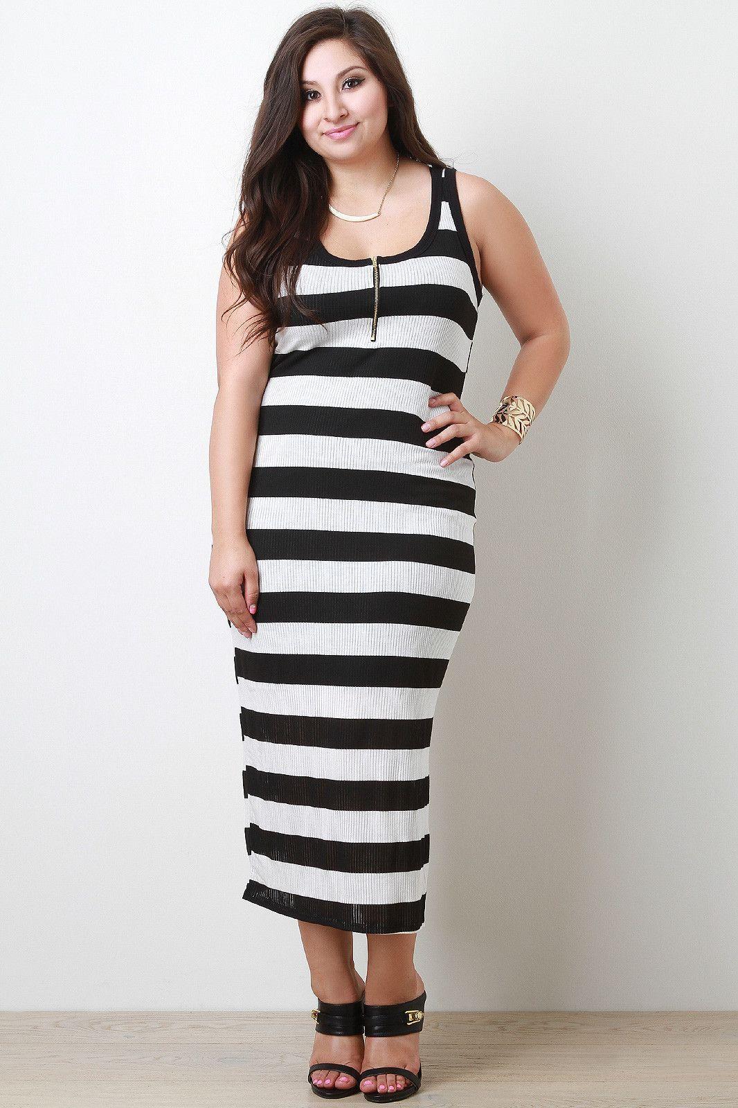 Plus Sizes Striped Zip Up Tank Midi Dress