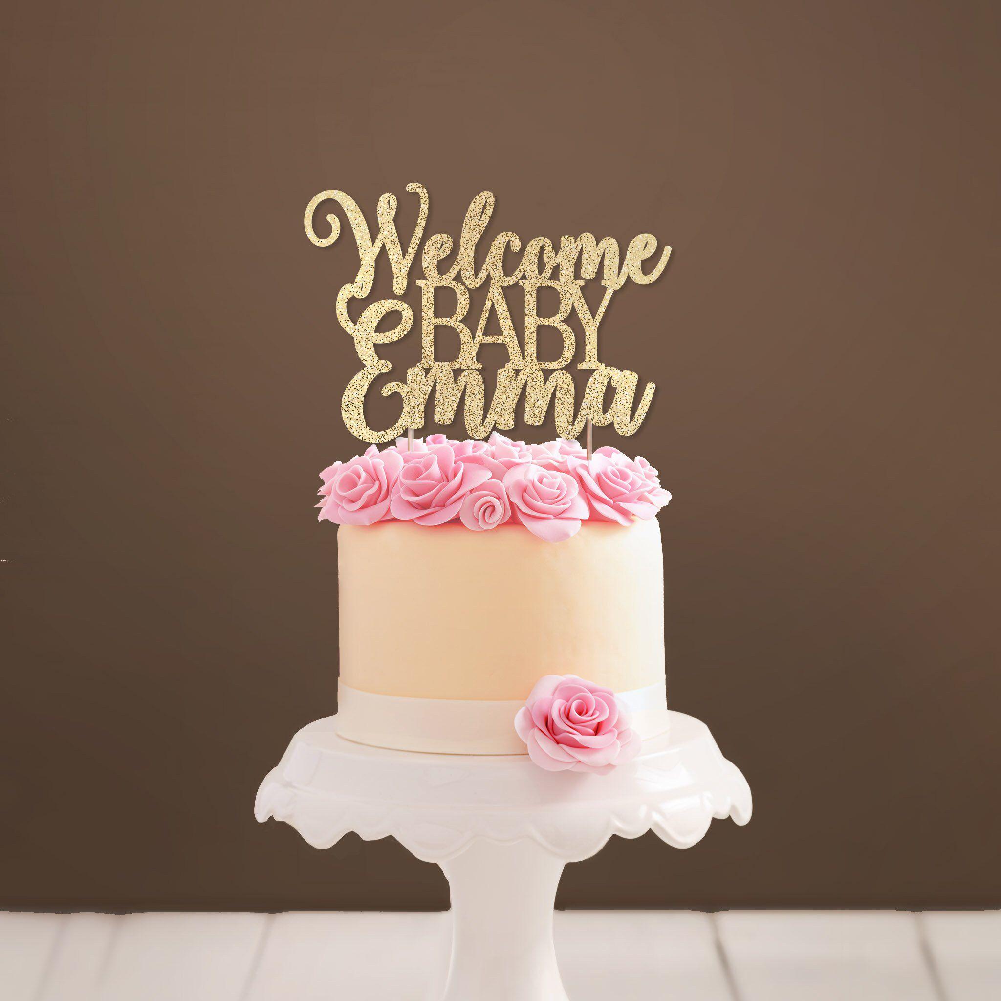 Custom baby cake topper glittery baby shower cake
