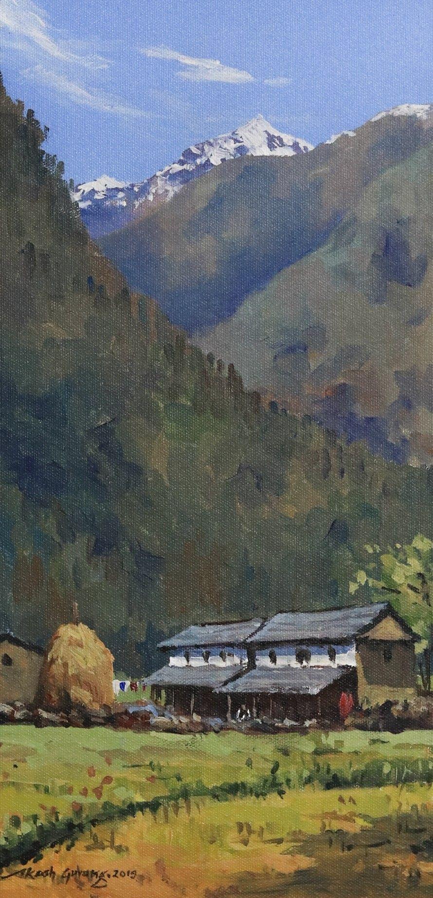 Acrylic Landscape Painting Pokhara Nepal Typical Nepali