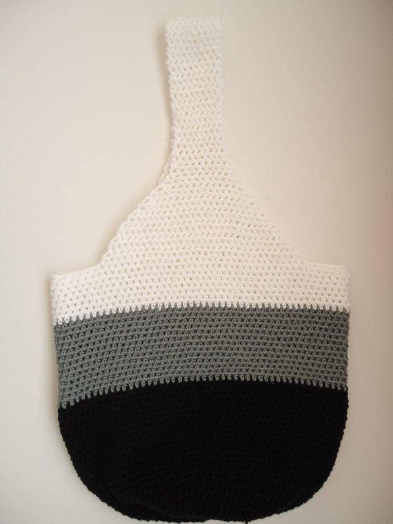 Crochet tote bag  crochet shopping bag  crochet black gray