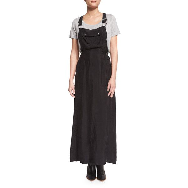 Frame Denim Le Cupro Overall Maxi Dress 375 Liked On Polyvore Featuring Dresses Noir Slim Fit Dress Slimming Maxi Dre Overall Dress Cupro Dress Dresses