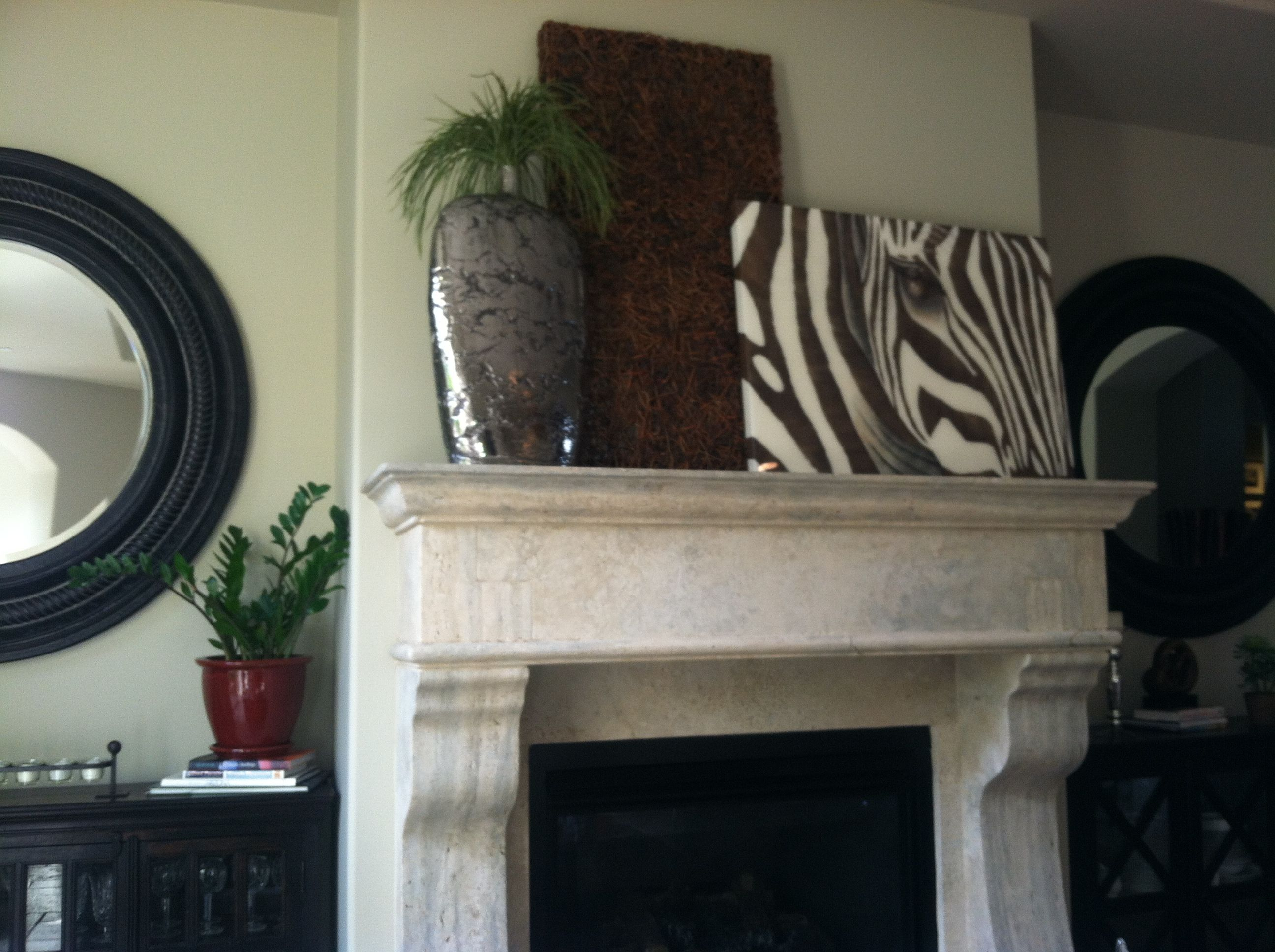 custom travertine fireplace with layered mantle decor ideas