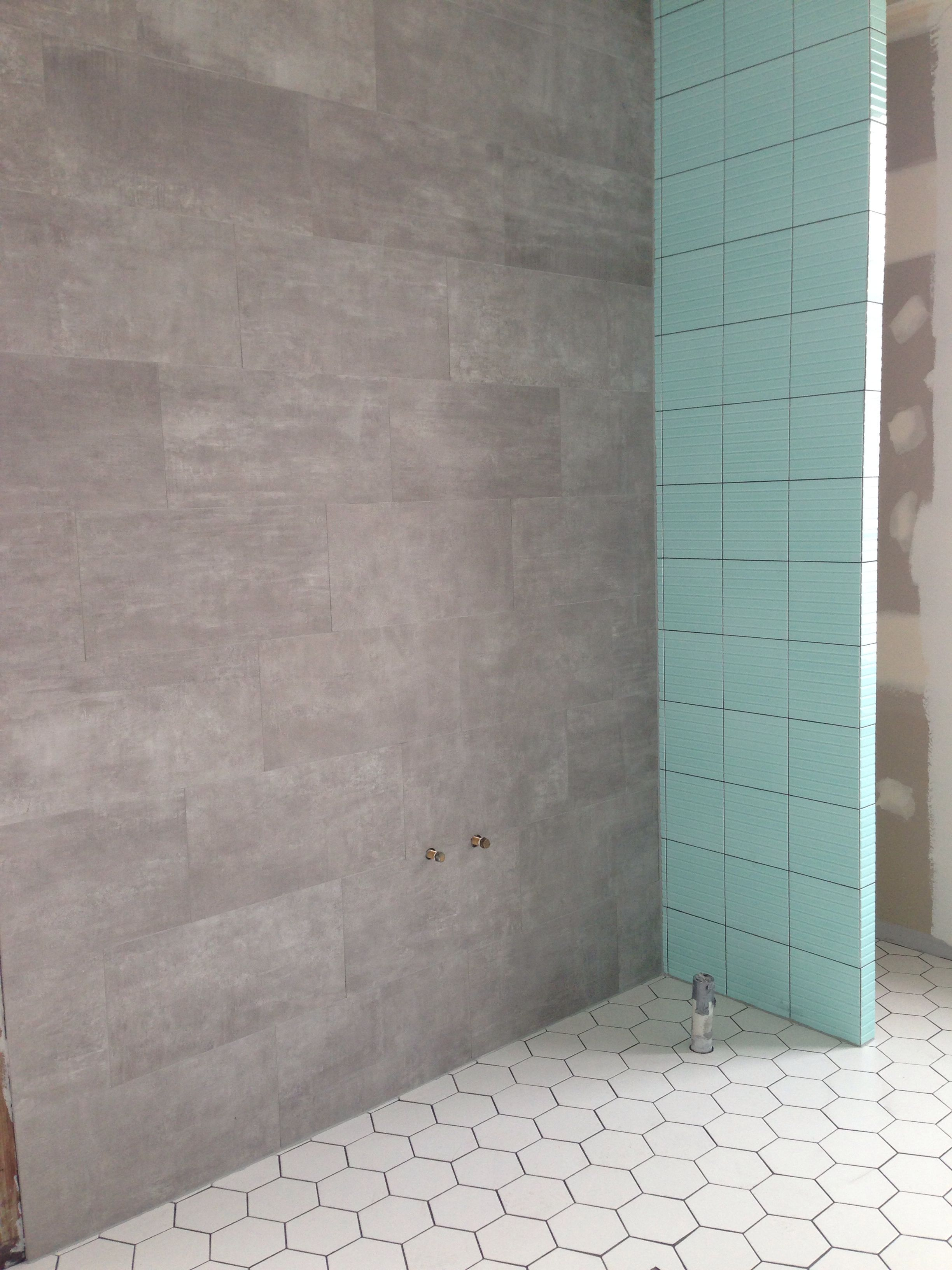 Mint Green Art Deco Tiles With Grey Grout White Hexagon Floor And Concrete Look Wall