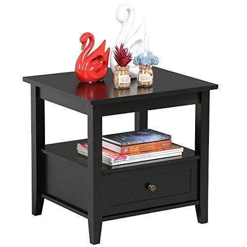 Best Topeakmart Black End Table With Bottom Drawer And Open St 640 x 480