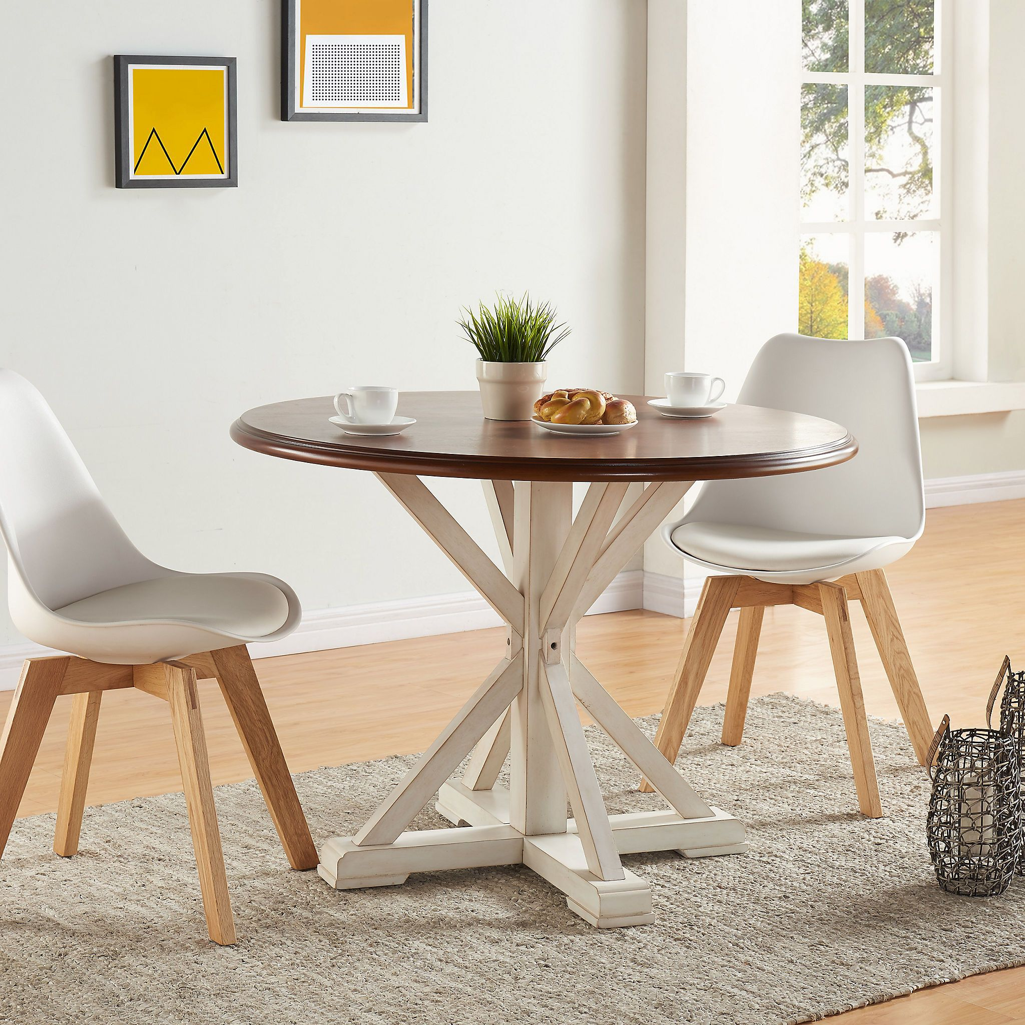 Eden Round Trestle Dining Table Round dining table