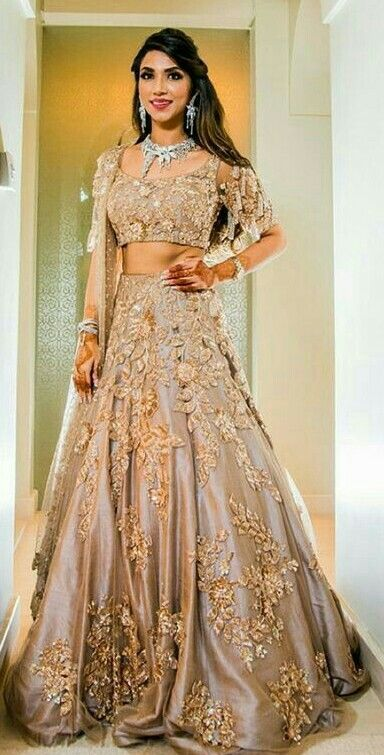 Golden bridal lehenga indianbride