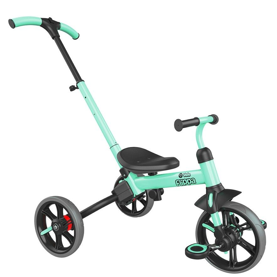 Yvolution Y Velo Flippa Green Teal 3 In 1 Push Trike To Balance