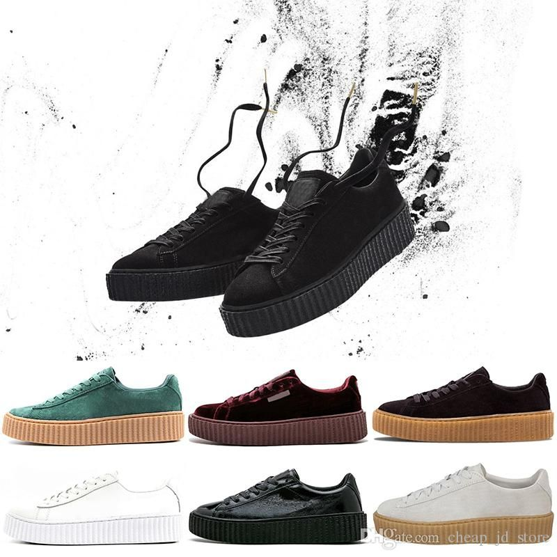 2019 Rihanna Fenty Creeper PM Classic Basket Platform Casual Shoes Velvet  Cracked Leather Suede  Fenty X  Puma by  Rihanna  Fashion  Footwear   Sneakers ... 810a43b84