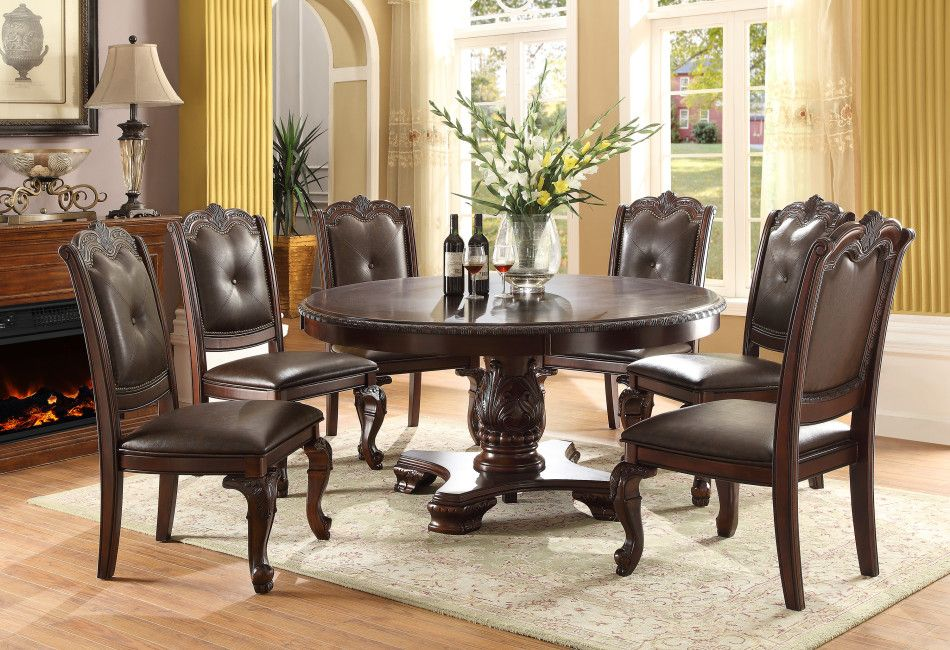 "Kiera Single Pedestal 60"" Round Table And 4 Side Chairs $119900 5 Beauteous Single Dining Room Chair Design Decoration"