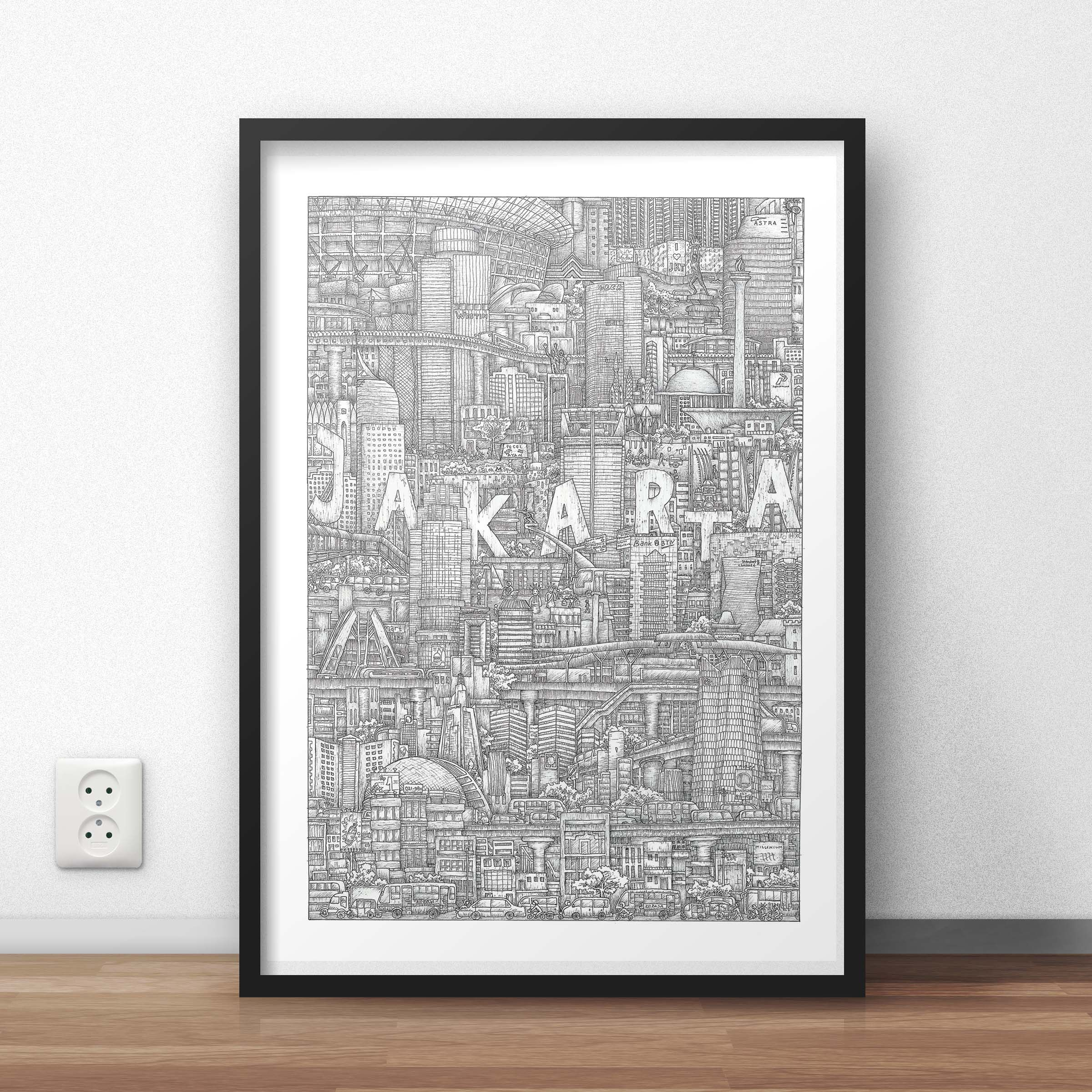 Jakarta Prints Etsy Art Prints City Art Hand Art Drawing