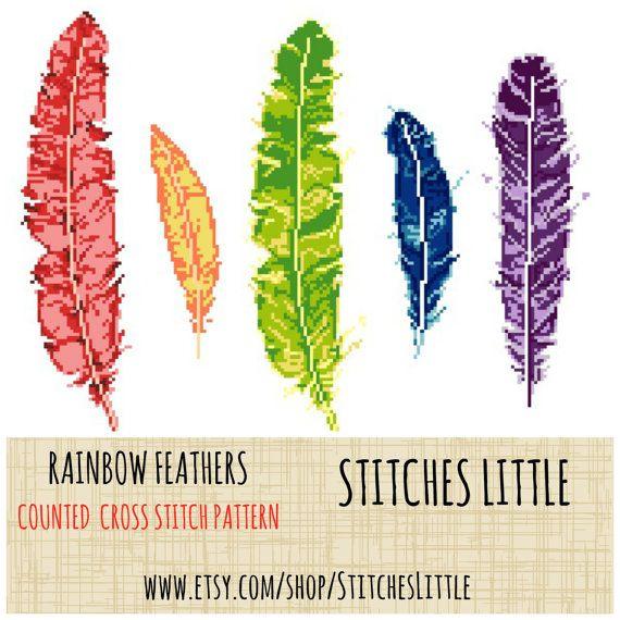 Modern Cross Stitch Pattern Rainbow Feathers by StitchesLittle ...