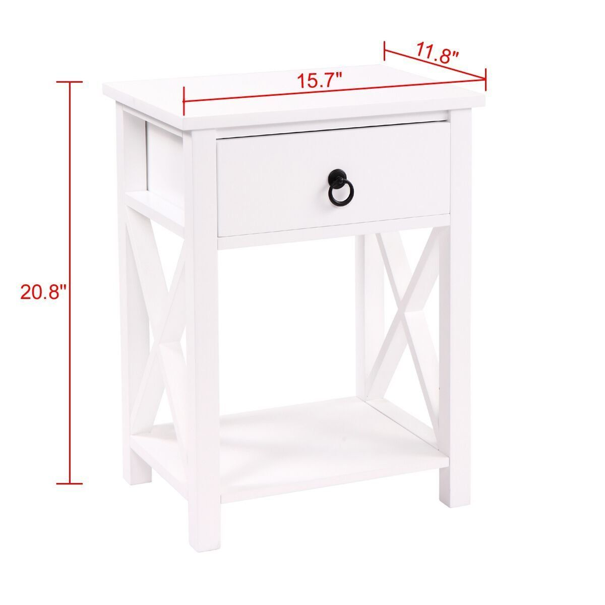 Jaxpety white finish xdesign side end table night stand storage