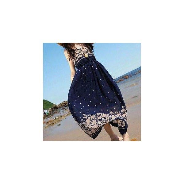 Sleeveless High-Waist Print Maxi Dress (175 MXN) ❤ liked on Polyvore featuring dresses, women, floral print maxi dress, blue floral dress, blue dress, sleeveless maxi dress and chiffon dresses