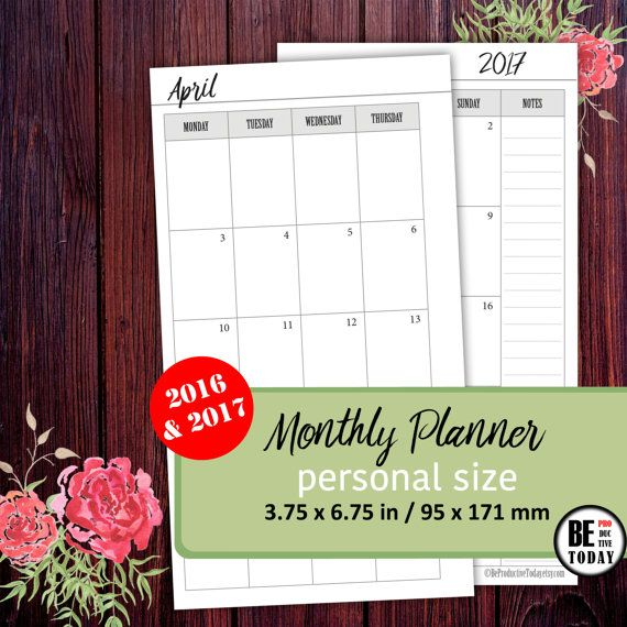 Monthly Planner Printable Filofax Personal Planner Inserts