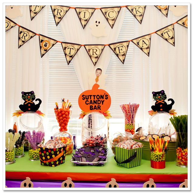 Halloween Themed Birthday Party For Toddler.Halloween Themed Candy Bar For A First Birthday Party Photos By Bg
