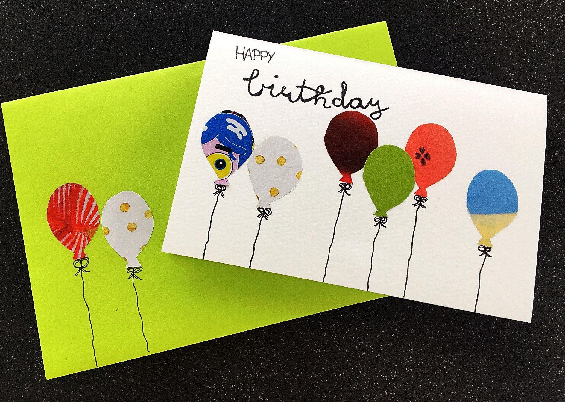 Geburtstagskarte Mit Luftballons Basteln Karte Luftballon Karte