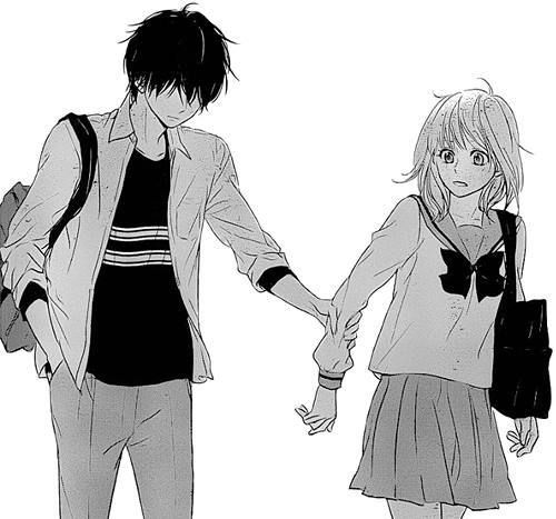 anime love boy and girl couple feelings hold your hand lovers