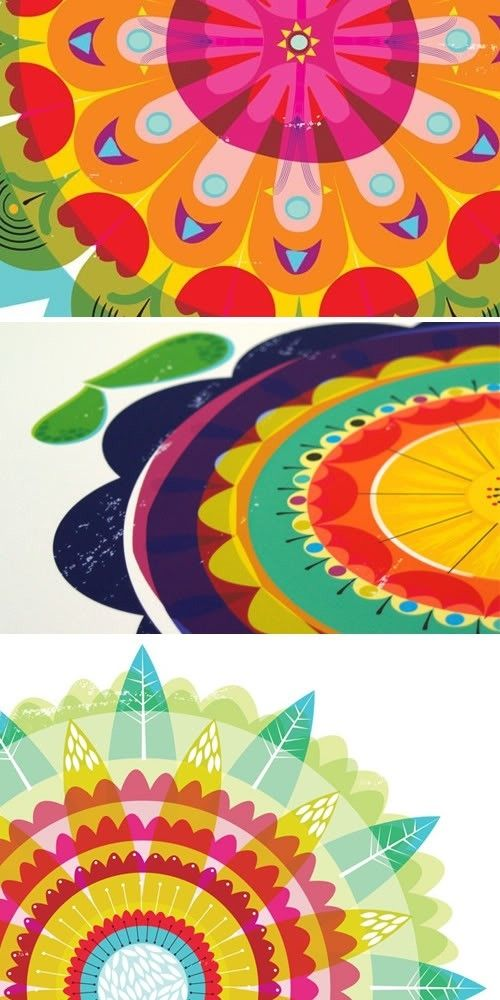 feather flower circles