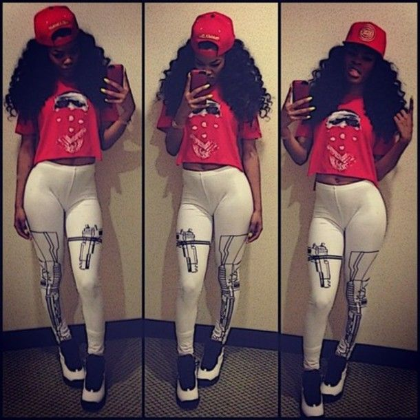 Jordan Girl Clothes | shirt clothes teyana taylor gun leggings red ...