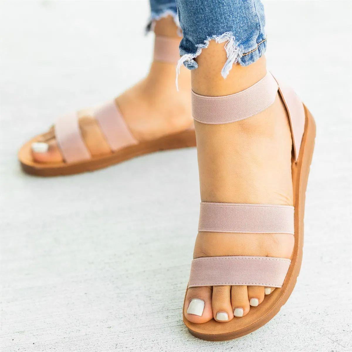 2019 Women Summer Sandals Rome Style Flat Sandals en 2020