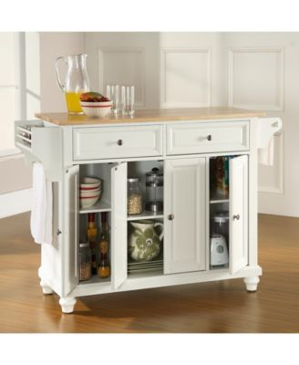 Cambridge Natural Wood Top Kitchen Island - White Products in 2018