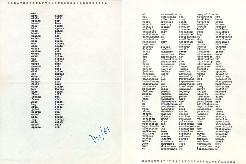 carl andre essay on sculpture for e c goossen and carl andre essay on sculpture for e c goossen 1964 and conquest display