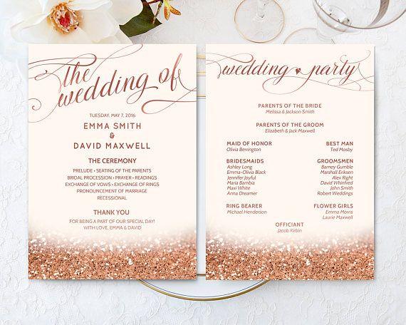Printable Rose Gold Fan Program Wedding Ceremony Glitter DIGITAL 5x7
