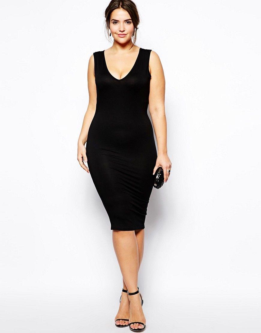 Little mistress curve v neck bodycon dress black
