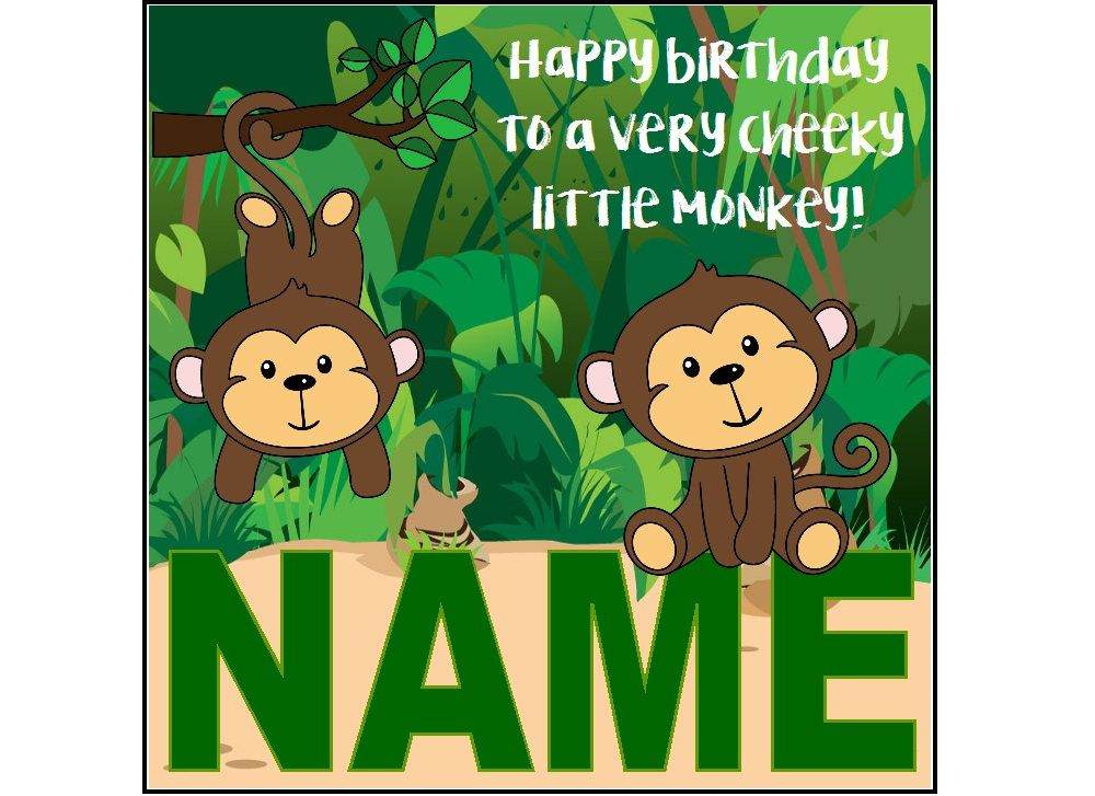 Monkey Birthday Card Personalised Jungle Card Cheeky Etsy Monkey Birthday Animal Cards Birthday Cards