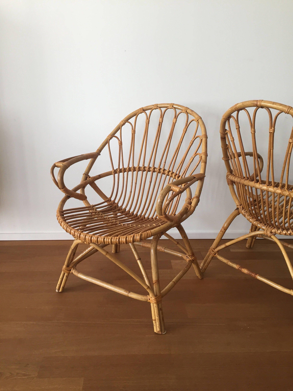 70er jahre boho korb rattan bambus stuhl basket wicker chair von