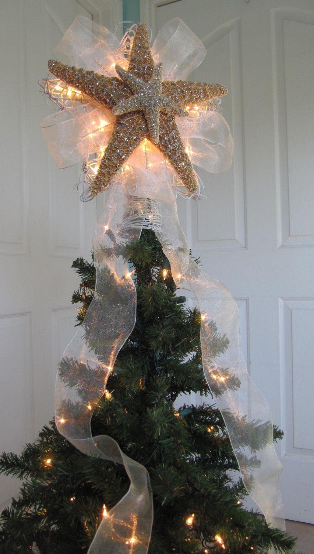 Lighted Christmas Tree Star Starfish Tree Topper Via Etsy