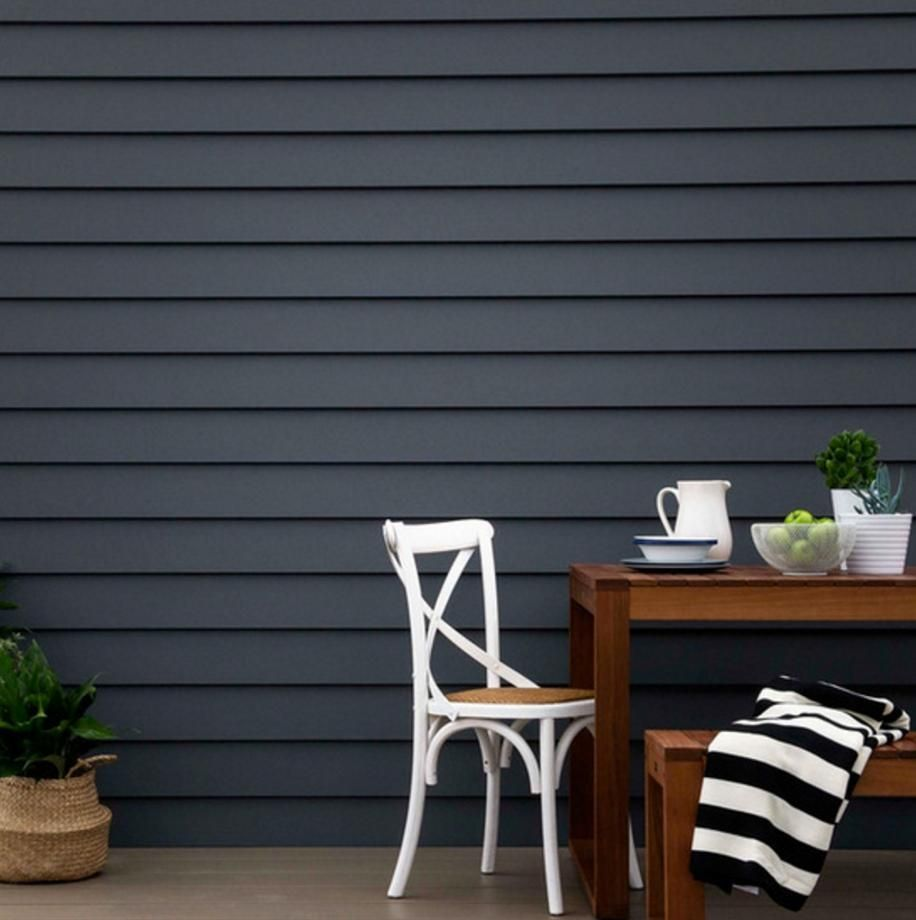 Dark Grey Paint having these, in white. scyon linea 180 weatherboards painted in