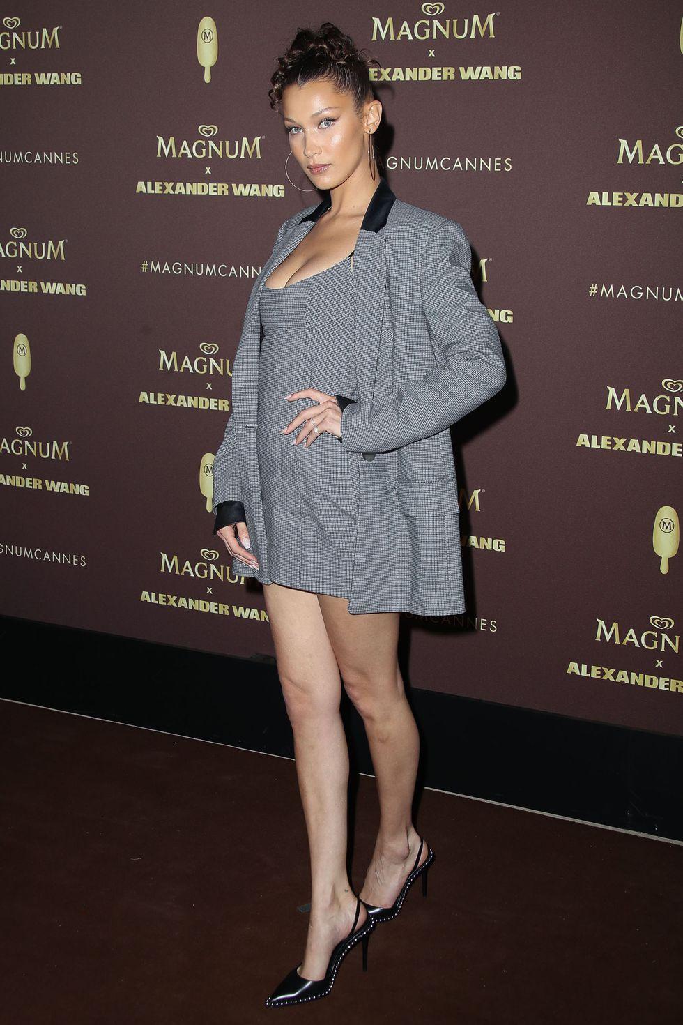 b270b7911ce0 Bella Hadid in Alexander Wang at the Magnum x Alexander Wang VIP Party in  Cannes, at the 71st Cannes Film Festival #cannes #hadid #bellahadid