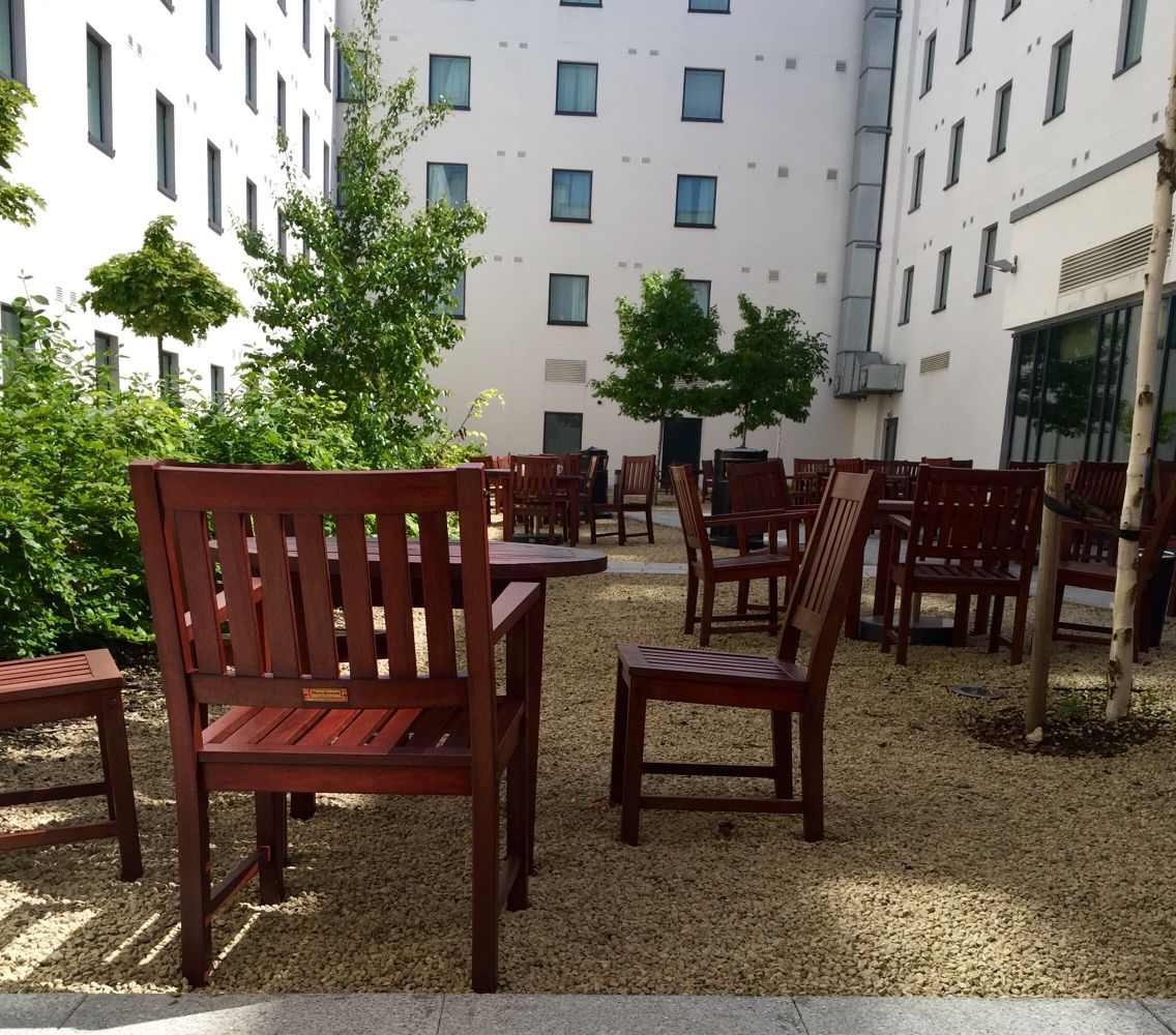 The courtyard at Premier inn LHR T5